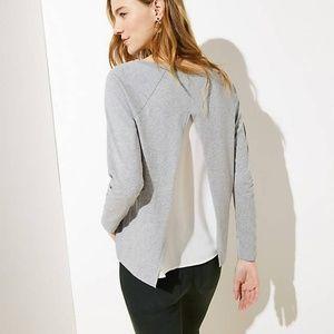 LOFT Petite Split Back Mixed Media Sweatshirt